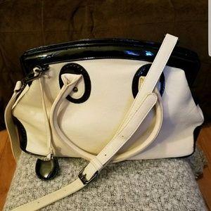 NEW Vieta Hand Bag Shoulder Bag Purse Cream/Black